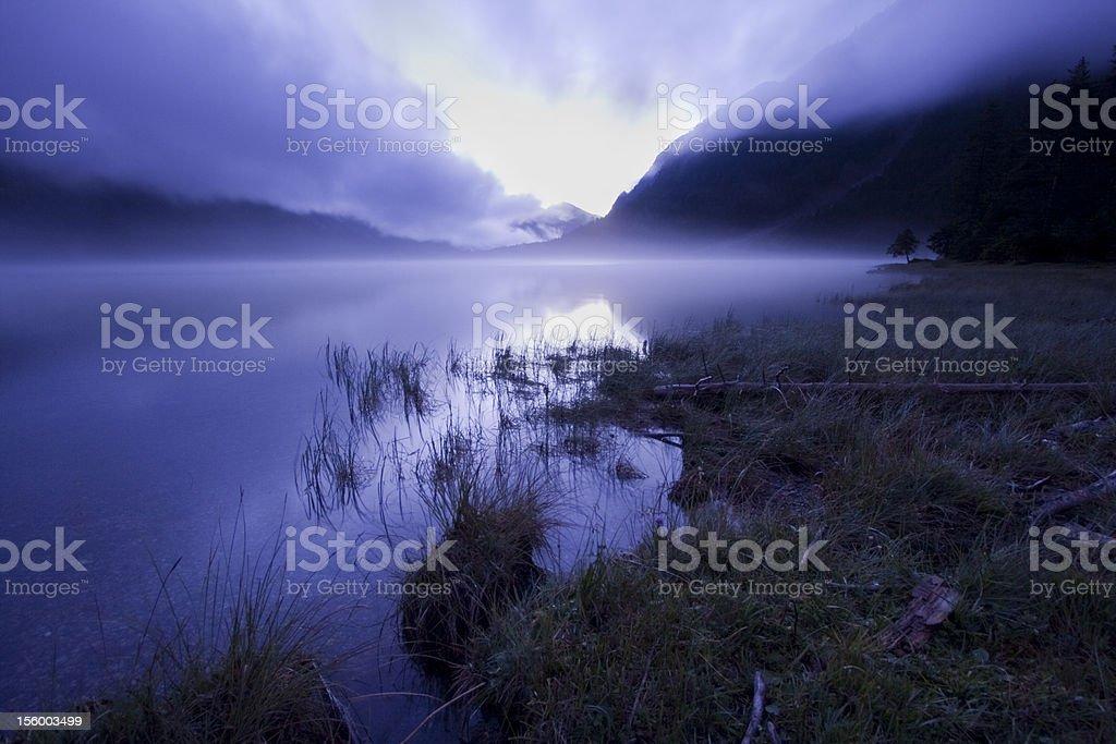 Twilight at Lake Plansee royalty-free stock photo