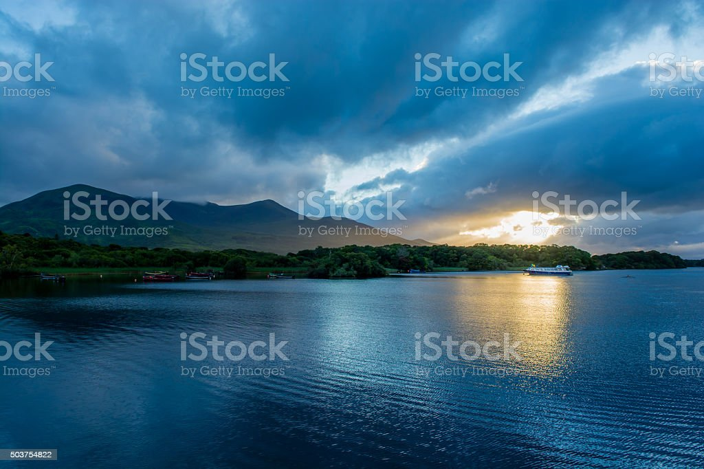Twilight at Lough Leane in Ireland stock photo