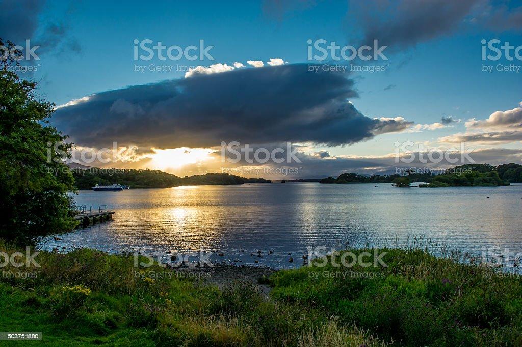 Twilight at Lough Leane in Ireland stock photo