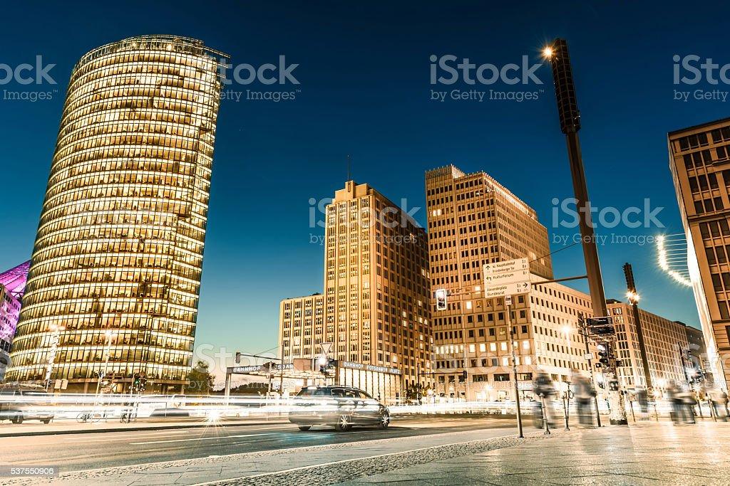 twilight at  Postdamer Platz in Berlin stock photo