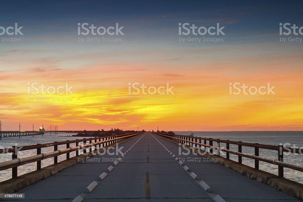 Twilight at the old Seven Mile Bridge stock photo