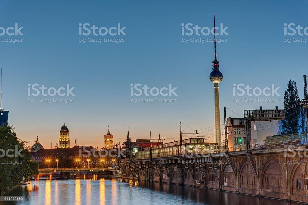 Twilight at the river Spree, Berlin stock photo