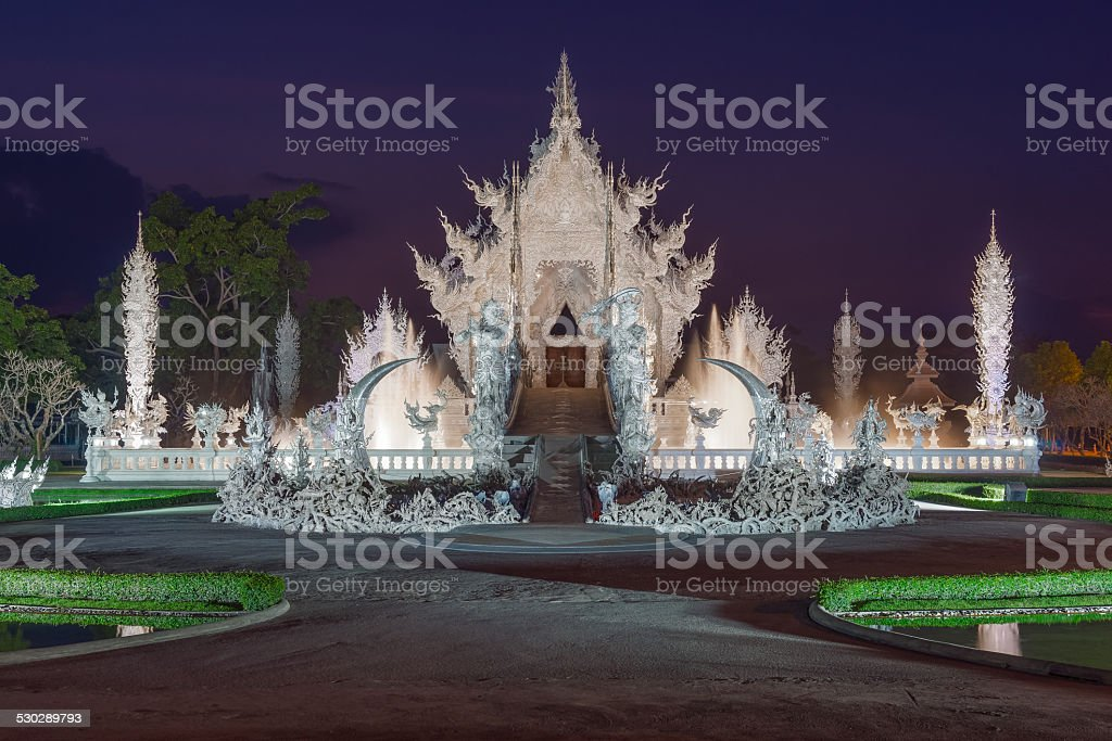 Twilight at Wat Rong Khun stock photo