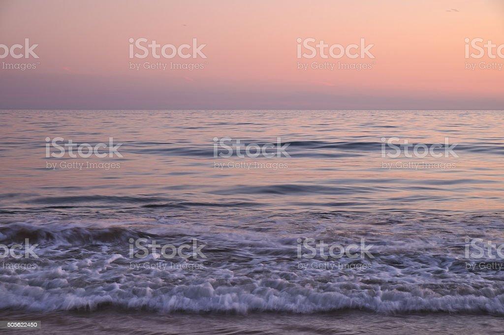 Twilight Beach Waves stock photo
