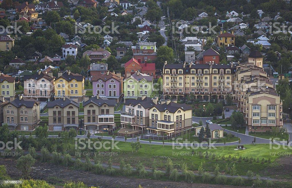 Twilight birds eye view of the city stock photo