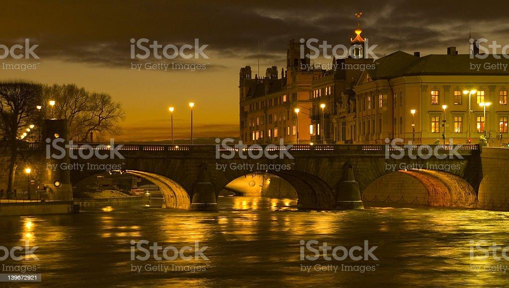 Twilight Bridge Stockholm royalty-free stock photo