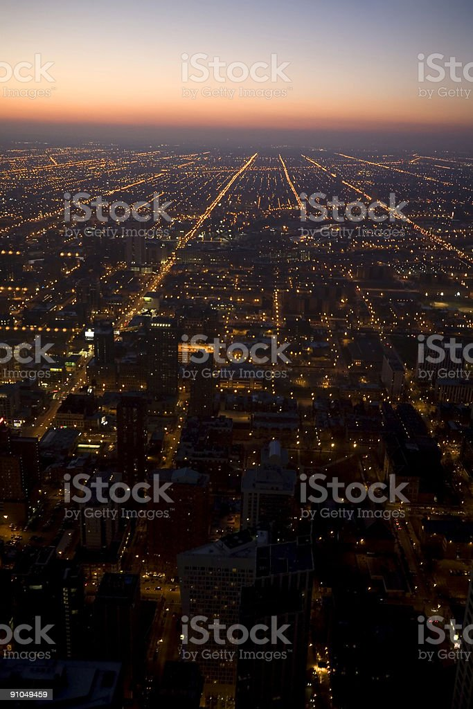 Twilight Chicago from Above royalty-free stock photo
