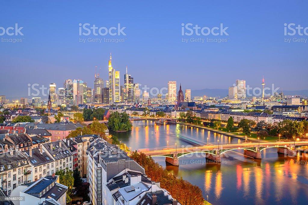 Twilight city skyline of Frankfurt, Germany  stock photo