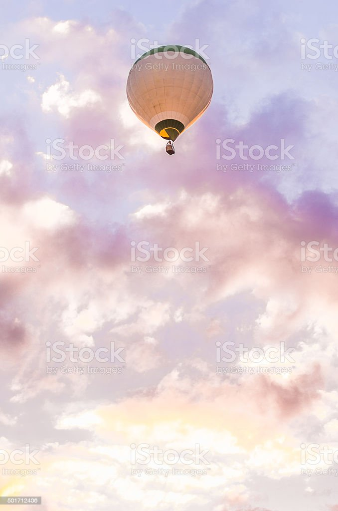twilight clouds air hot air balloon copy space vertical stock photo