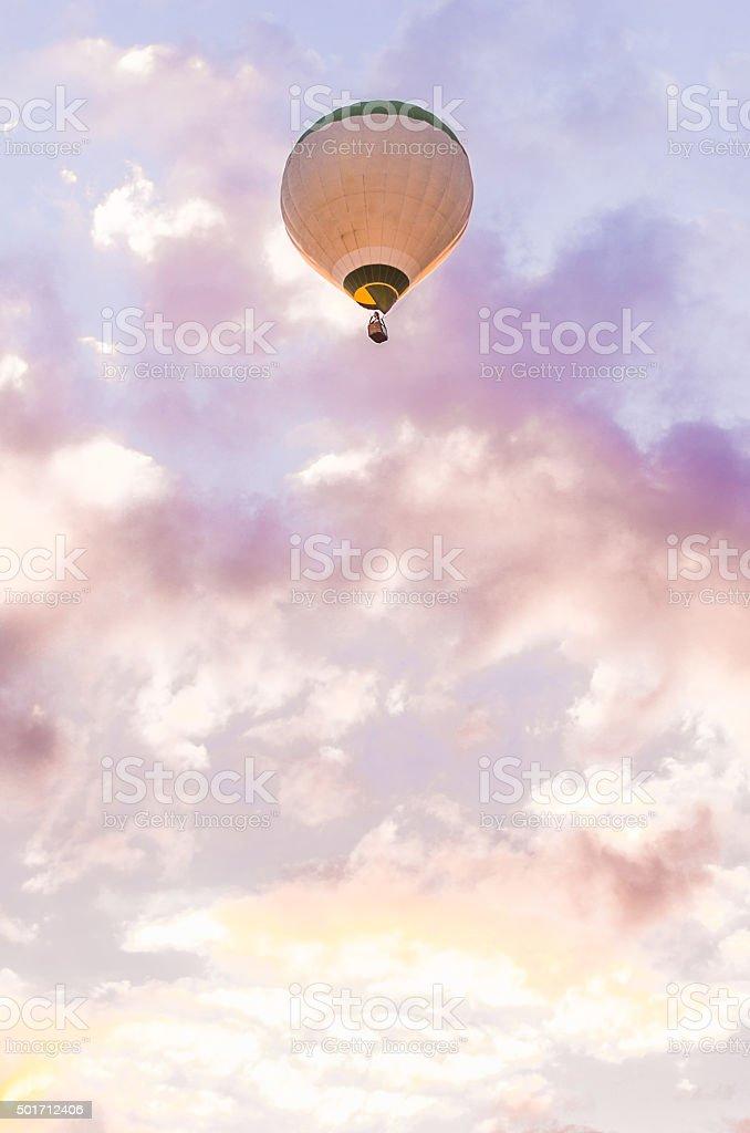 twilight clouds air hot air balloon copy space vertical stock photo