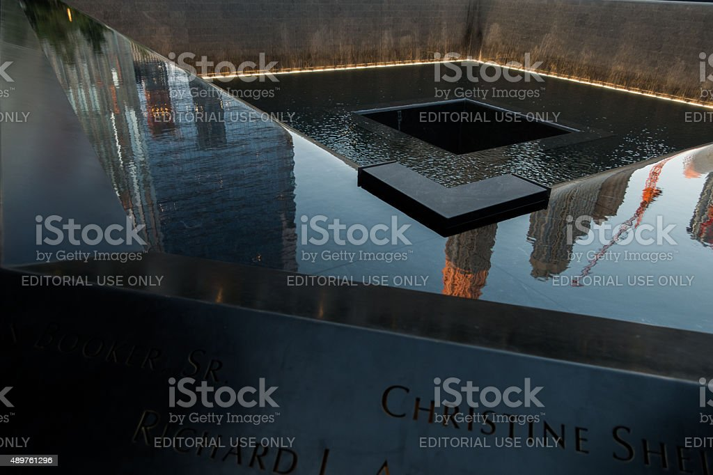 Twilight detail view of the 9/11 Memorial in New York stock photo