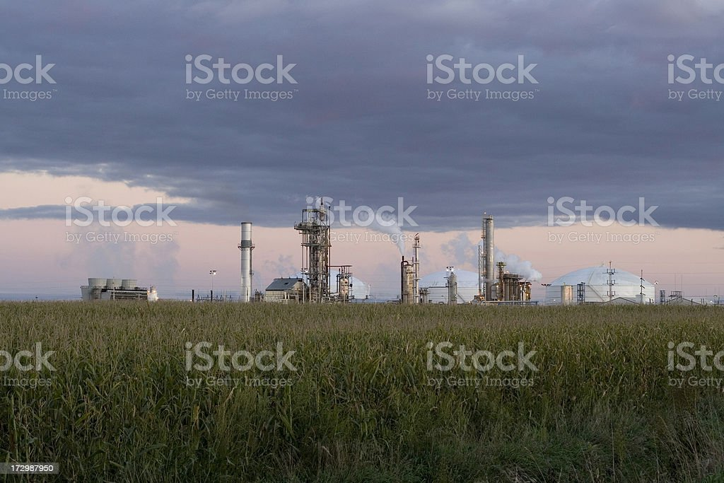 Twilight Farm Chemical Factory in NW Iowa royalty-free stock photo