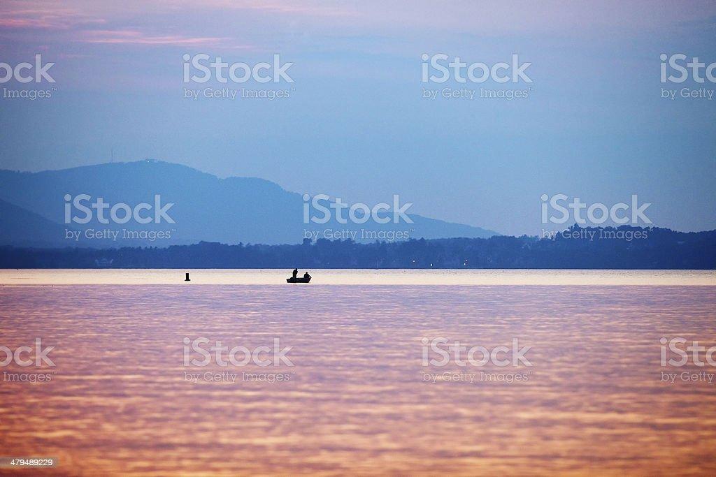 Twilight Fishing on Lac Brome stock photo