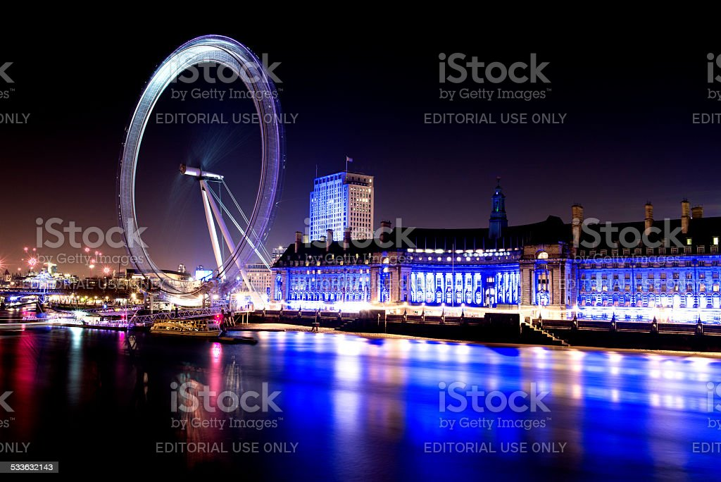 Twilight hour city of London with London Eye stock photo