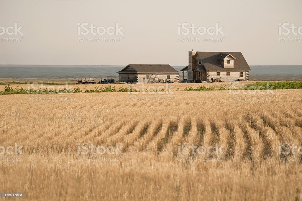 Twilight House on the Prairie stock photo