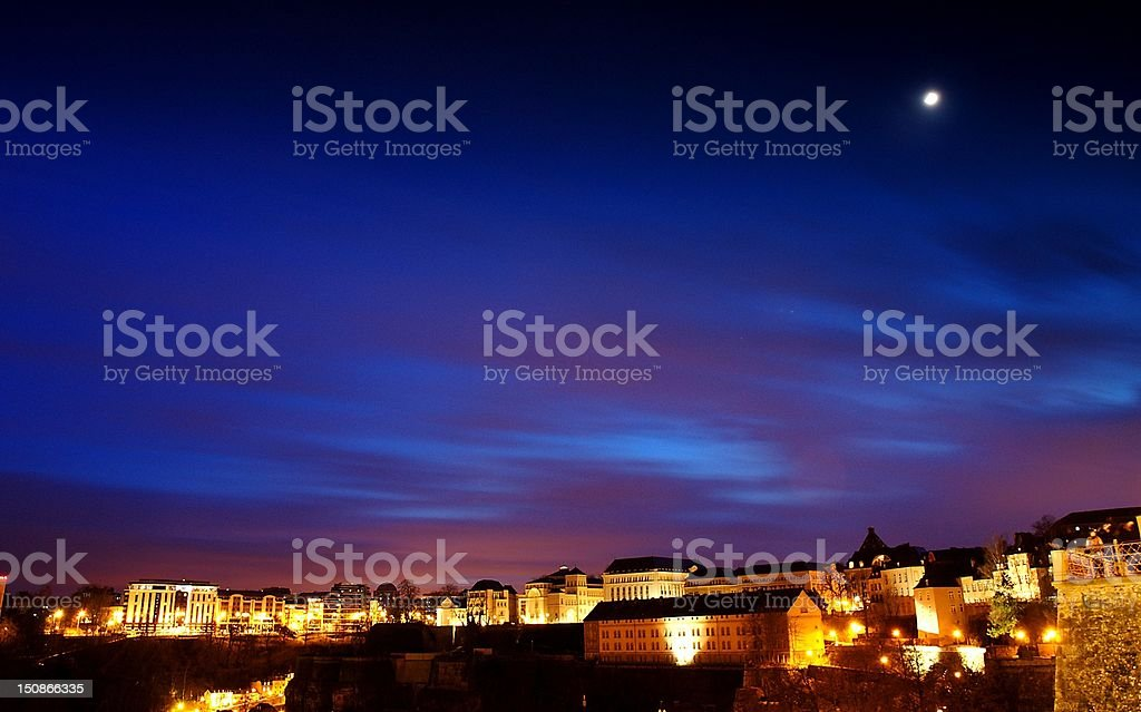 Twilight in Luxembourg stock photo