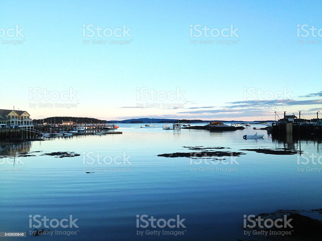 Twilight in Stonington,  Maine Harbor stock photo