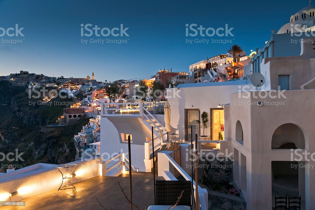 Twilight in Thira of Santorini island stock photo
