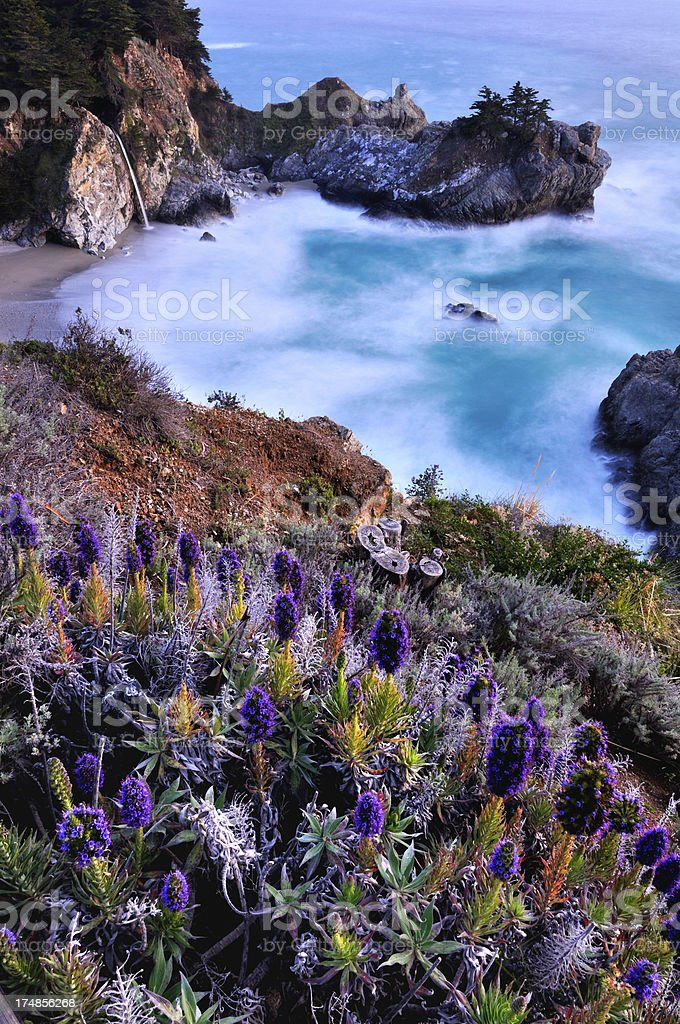Twilight landscape of Big Sur McWay Falls stock photo