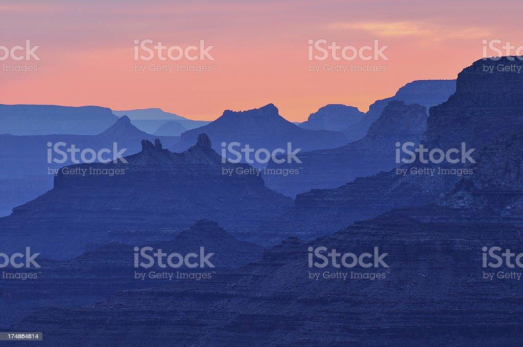 Twilight landscape of Grand Canyon National Park stock photo