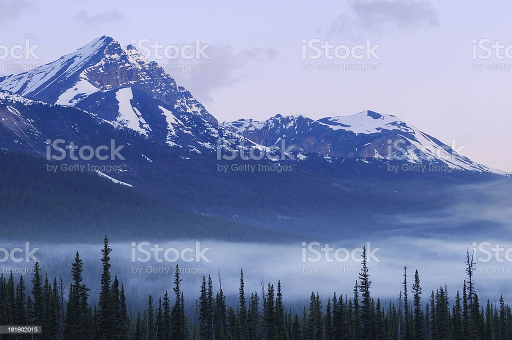 Twilight landscape with mountain peak in Canadian Rokies royalty-free stock photo