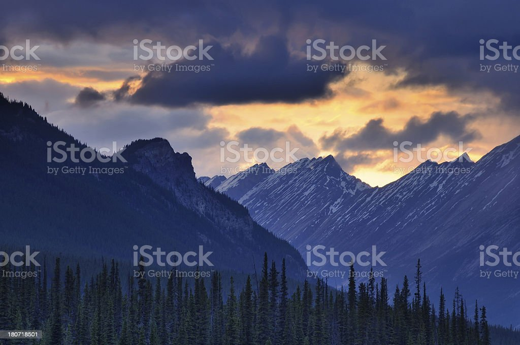 Twilight landscape with mountains in Canadian Rockies royalty-free stock photo