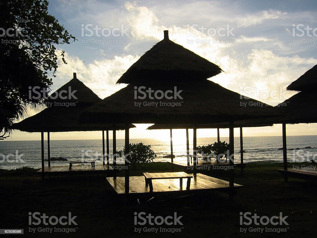 twilight massage huts koh lantah thailand royalty-free stock photo