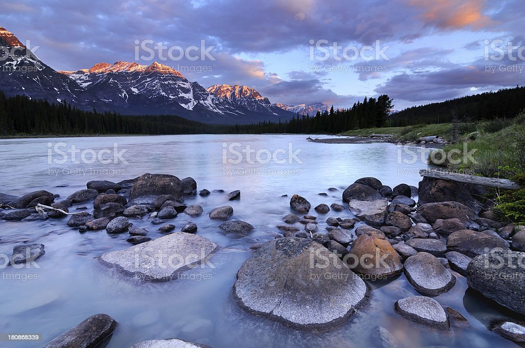 Twilight mountain landscape with reflection in Canadian Rokies royalty-free stock photo