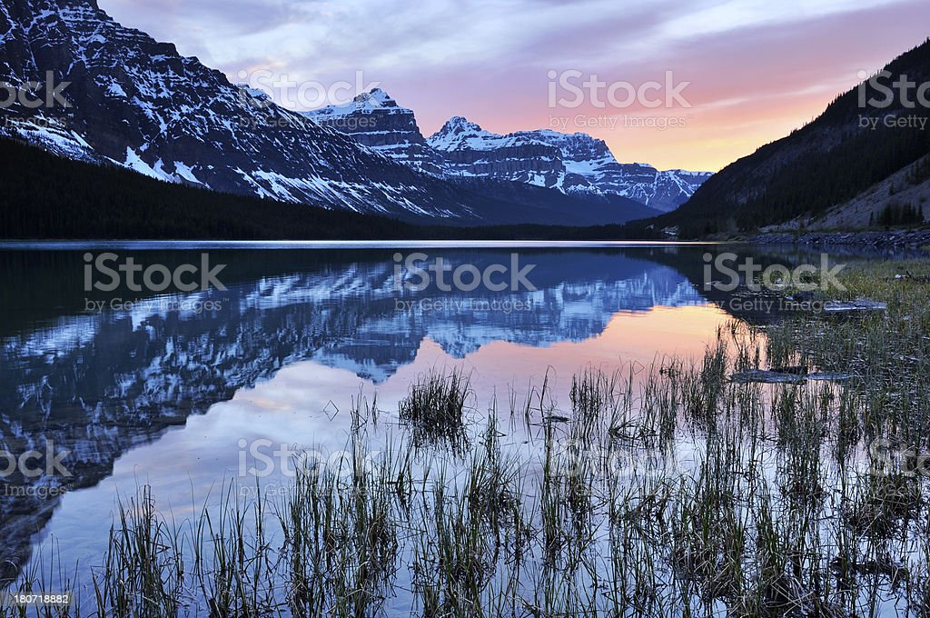 Twilight mountain landscape with reflection in Waterfowl Lake, Canadian Rokies royalty-free stock photo