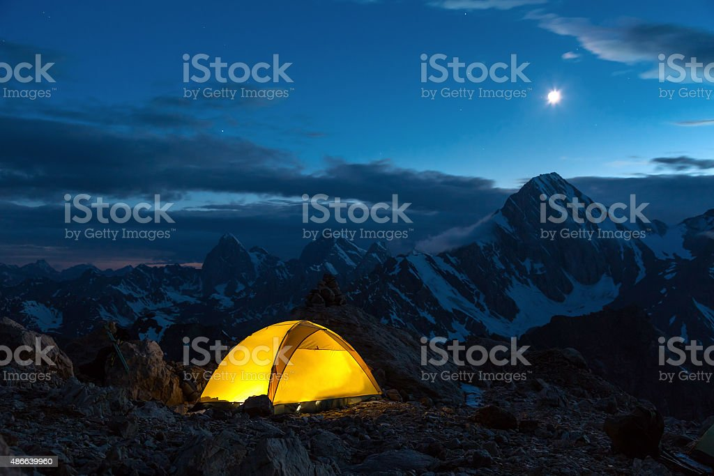 Twilight Mountain Panorama and Tent stock photo