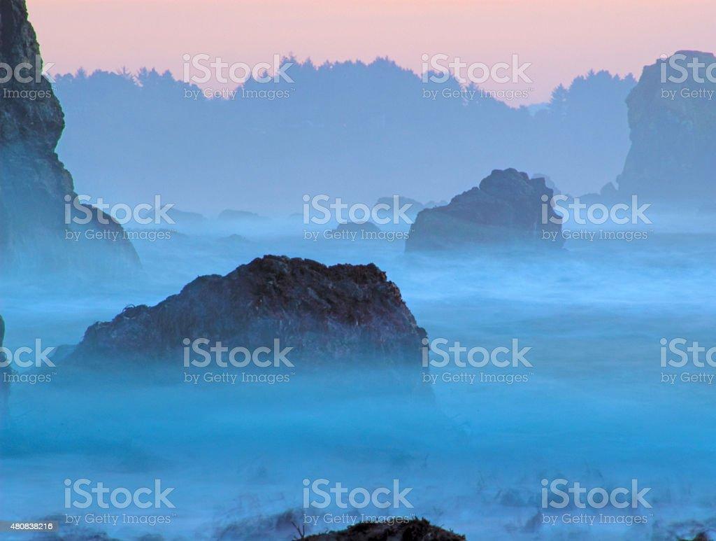 Twilight ocean haze stock photo