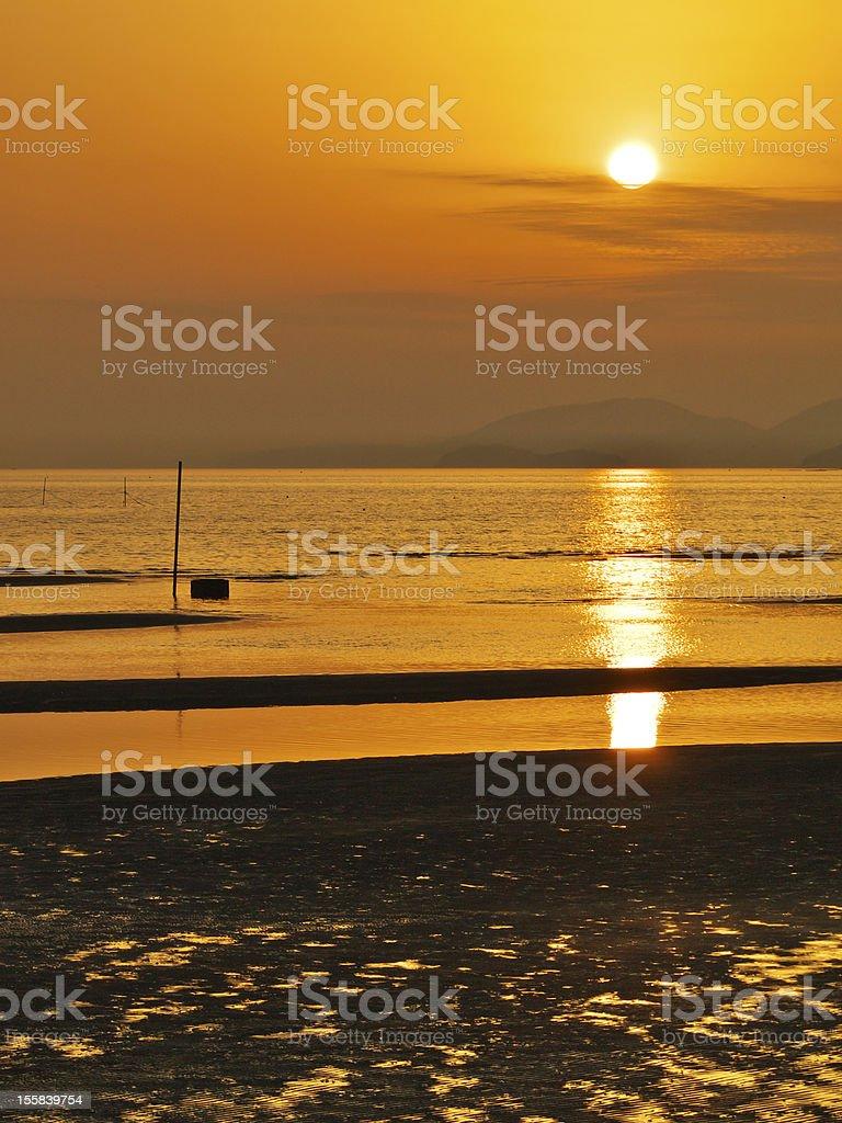 Twilight of a tidal flat stock photo