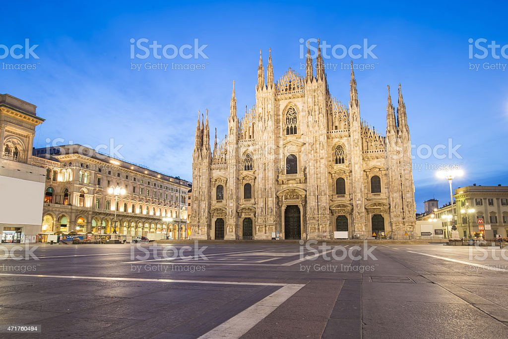 Twilight of Duomo Milan Cathedral in Italy. stock photo