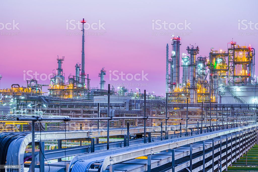 Twilight of industrial petroleum plant stock photo