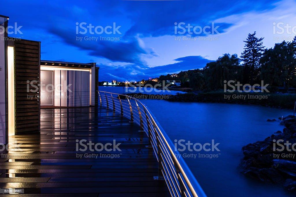 Twilight on Lake Neuchatel stock photo