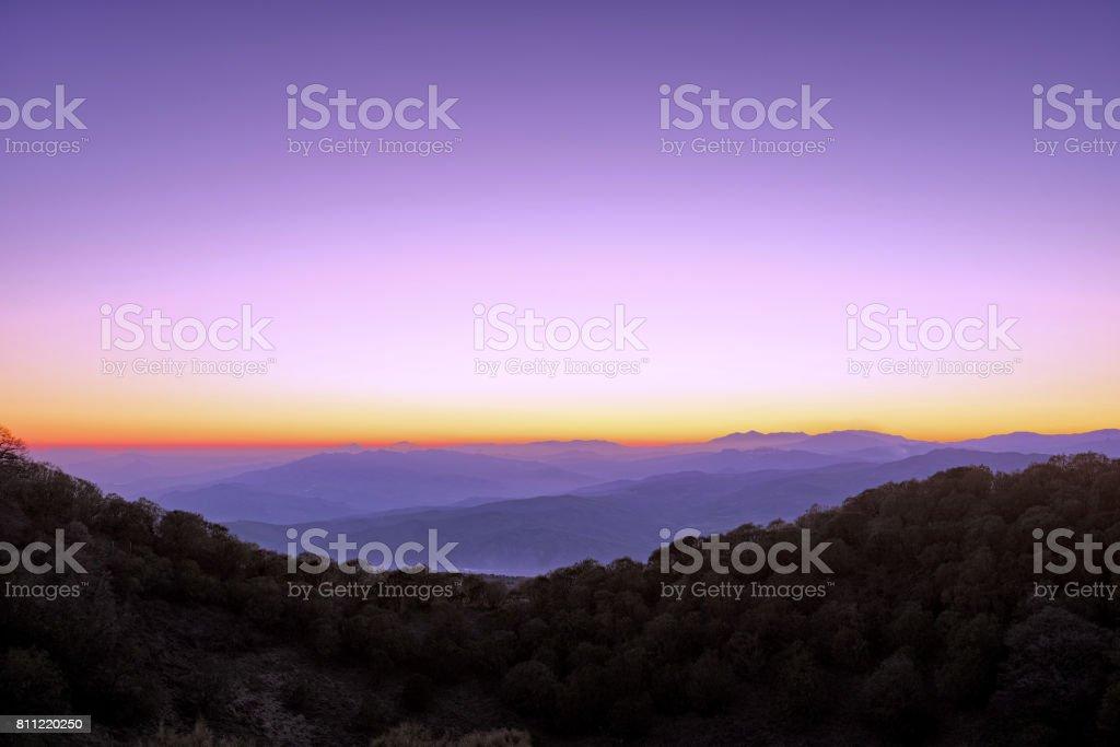 Twilight On Simeto Valley From Etna Park, Sicily stock photo