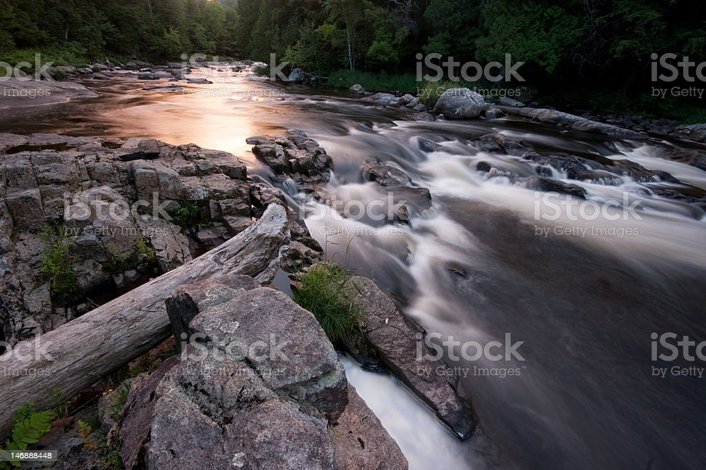 Twilight on the Ausable River stock photo