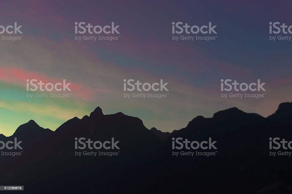 twilight on the mountain stock photo