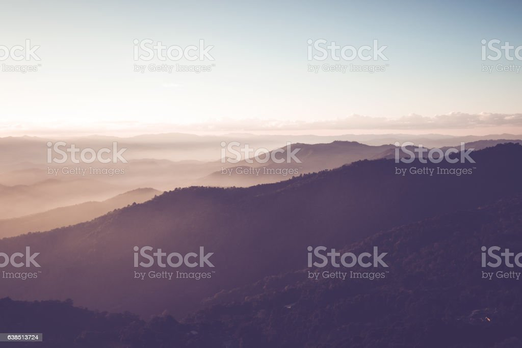 twilight on the mountain viewpoint stock photo