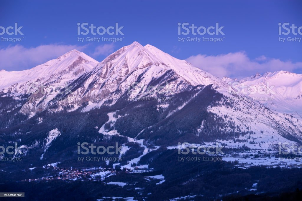 Twilight on the Petite and Grande Autane, Champsaur, Alps, France stock photo