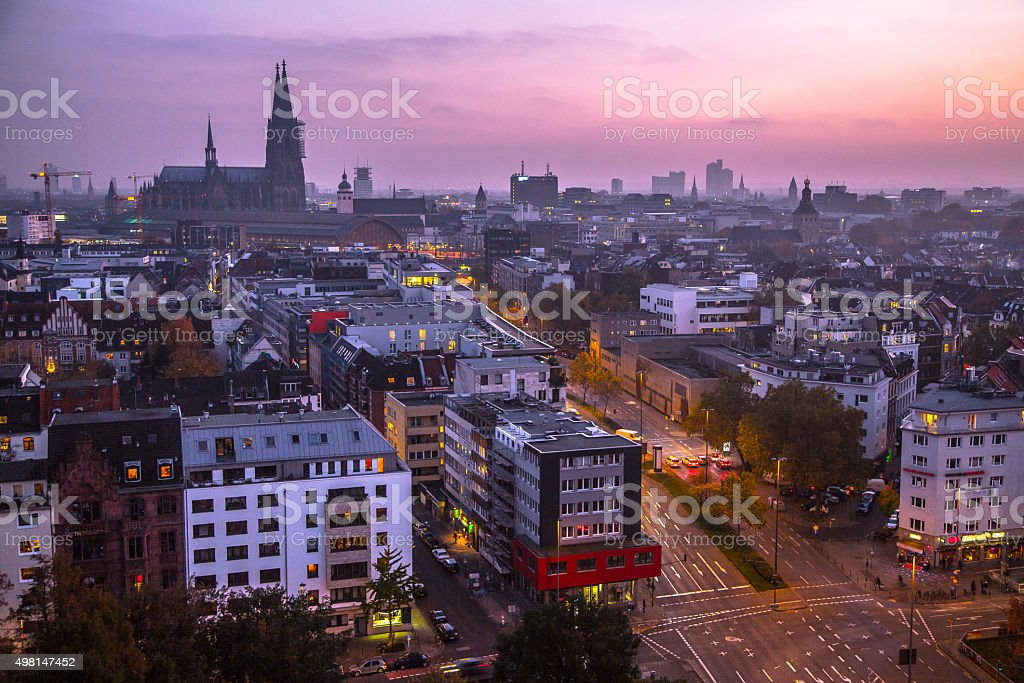 Twilight over Cologne stock photo