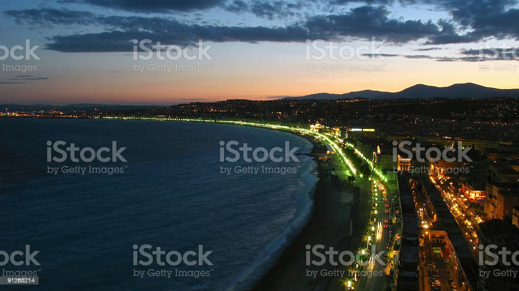 Twilight over Nice, France royalty-free stock photo