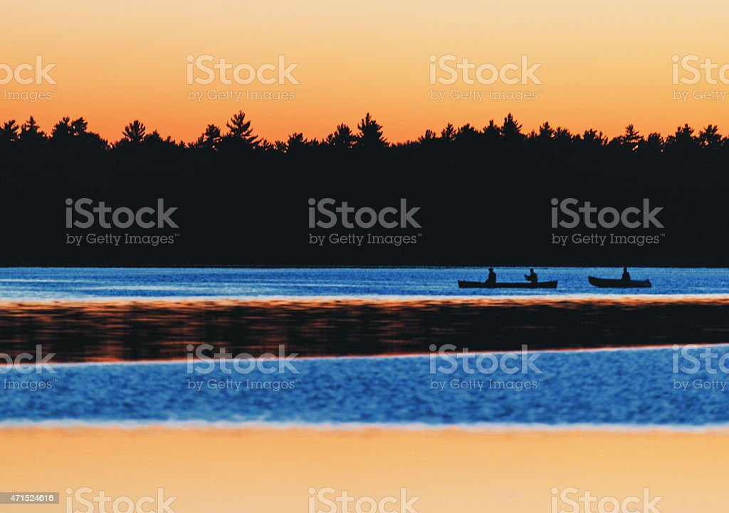 Twilight Paddle in National Park stock photo