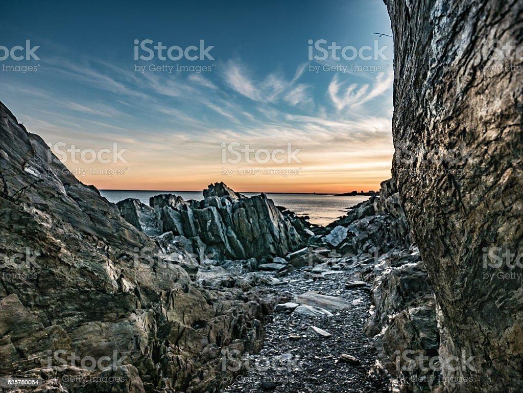 Twilight Path to the Sea, Bailey Island stock photo