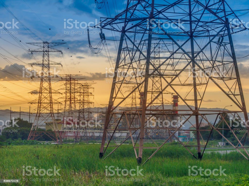 Twilight photo of High voltage post or High voltage tower stock photo