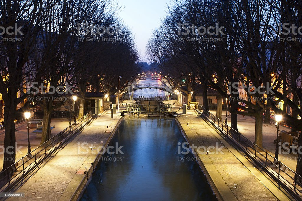 Twilight photo of Saint-Martin channel in Paris, France stock photo