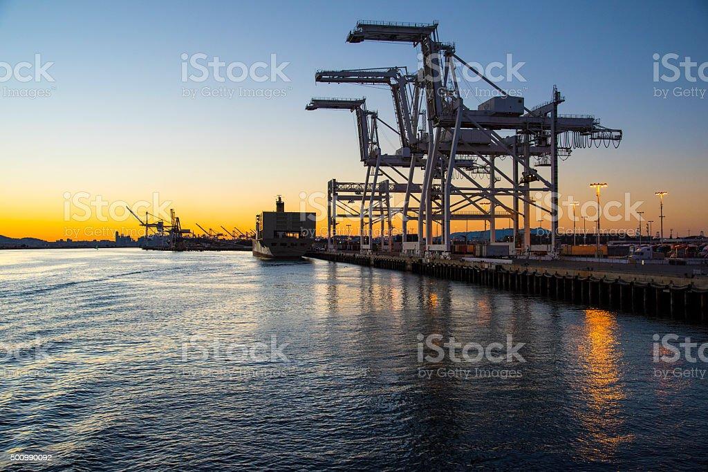 Twilight port stock photo