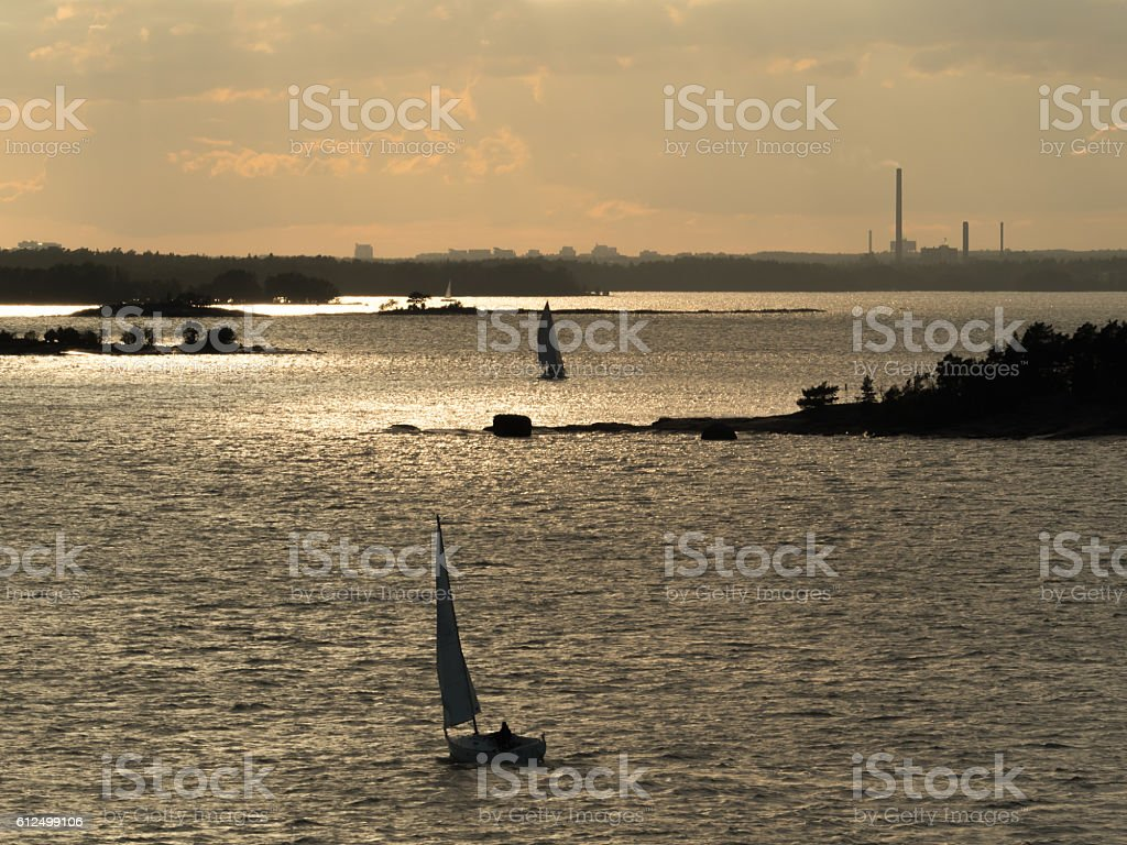 Twilight sailing stock photo