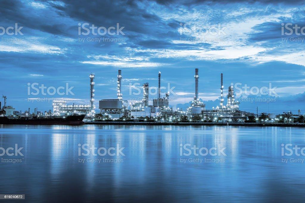 Twilight scene of oil refinery plant, Blue tone. stock photo