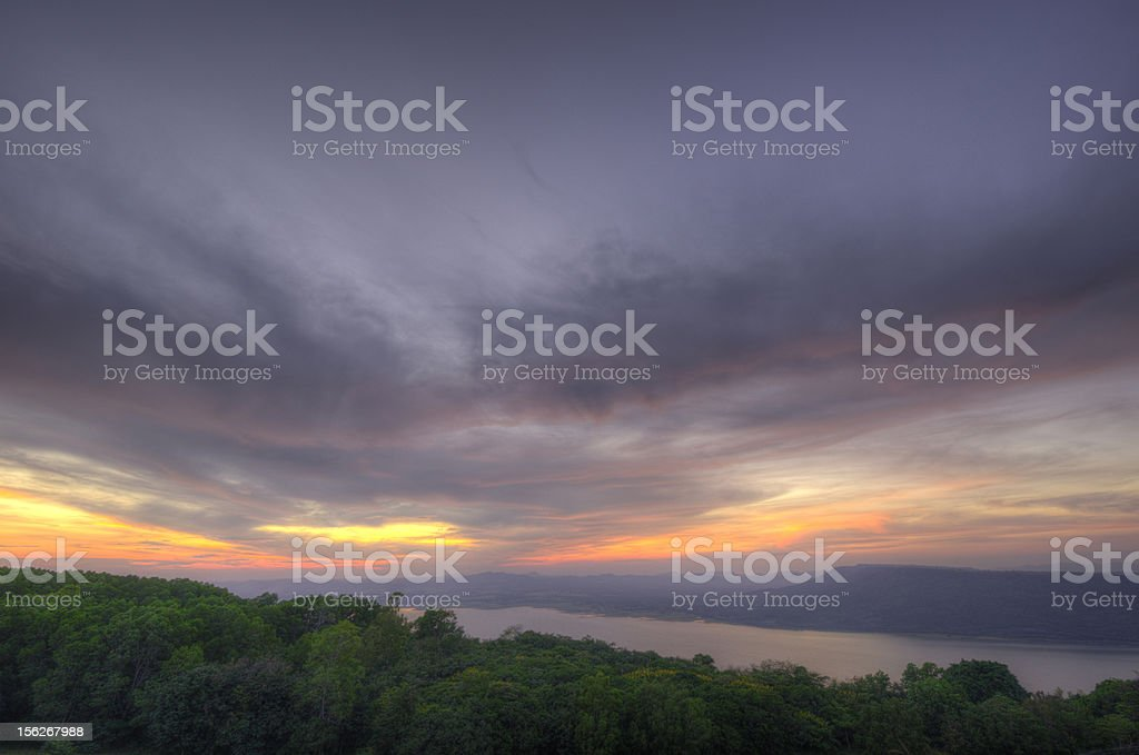 Twilight Sunset at lake royalty-free stock photo